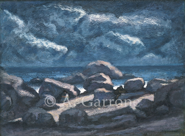 Alone Together IV - Seascape Oil on Panel Painting