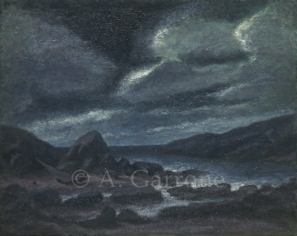 Night Shore 2 - Seascape Oil on Panel Painting
