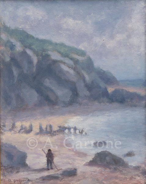 Seascape with Figure - Seascape Oil on Panel Painting