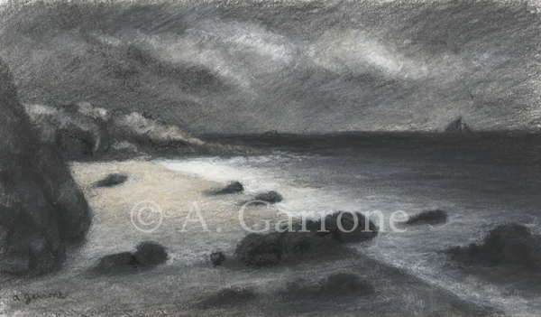 Silent Inlet - Seascape Charcoal & Pastel Drawing